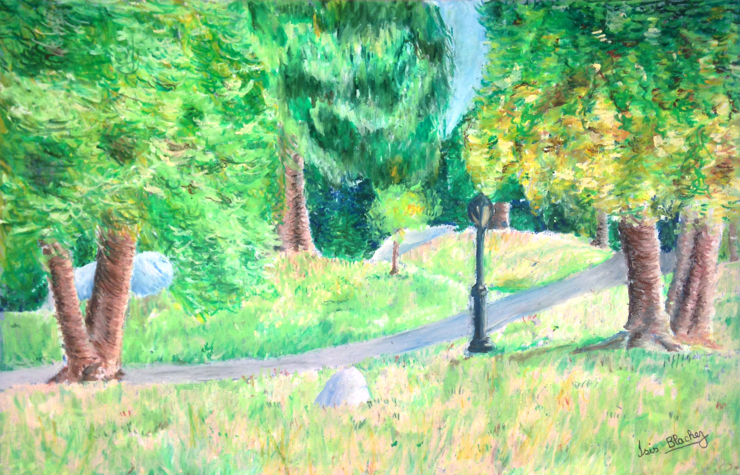 Plein Air Oil Pastel Drawing of Central Park