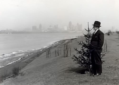 My grandfather J. Gazo in Windsor looking at the Detroit skyline about  1930s