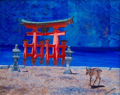 Torii Japan Acrylic on Canvas by J. Gazo-McKim ©2010