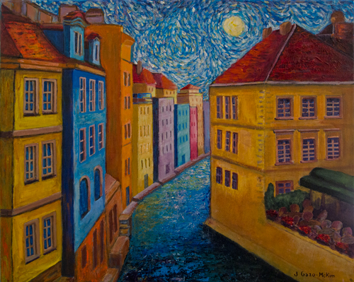 Prague a la VanGogh Acrylic Painting by J. Gazo-McKim ©2012