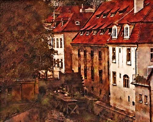Red Roofs of Prague Paintography by J. Gazo-McKim ©2011