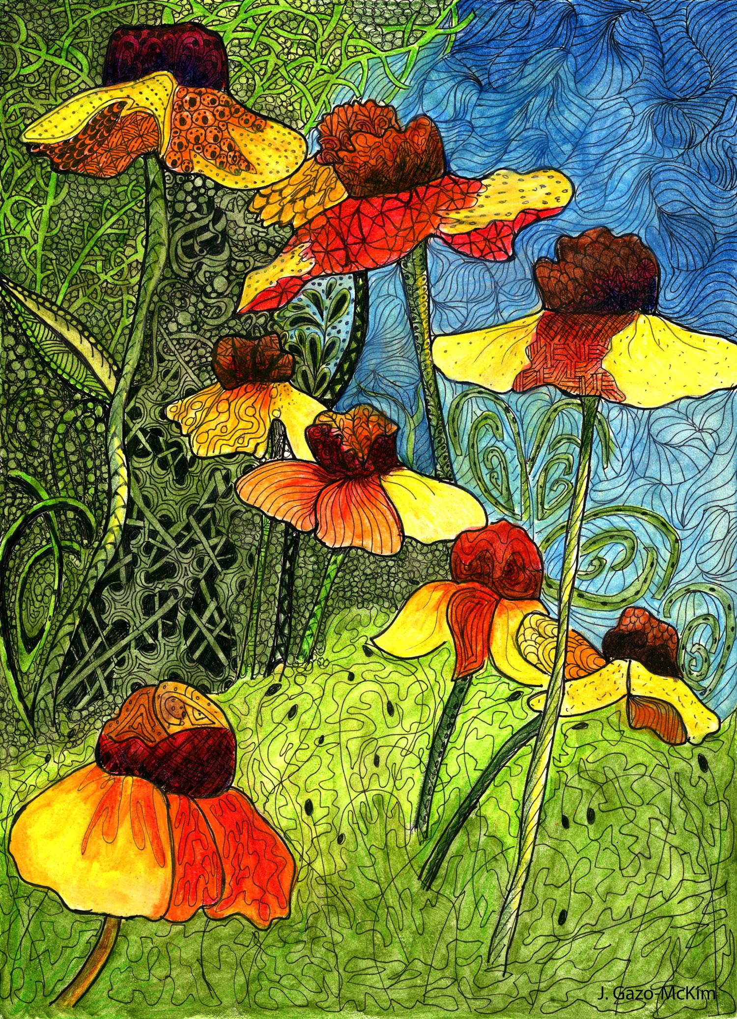 Entangled Garden Pen and Ink by J. Gazo-McKim ©2014