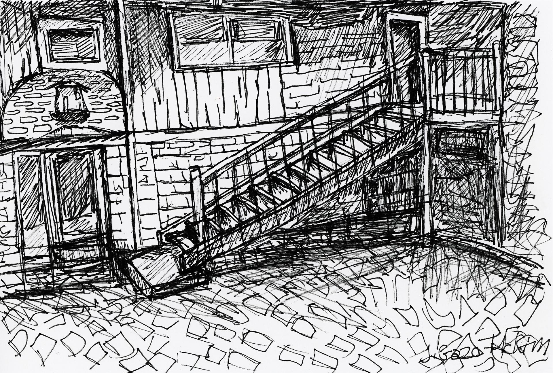 Martello Alley 01 Pen and Ink by J. Gazo-McKim ©2015