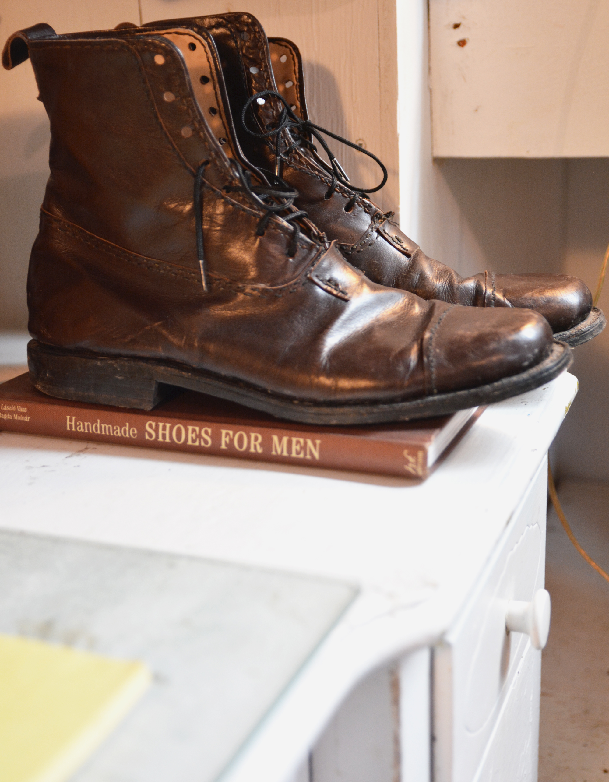 The first leather piece Chris ever made was a pair of boots (pretty ambitious).