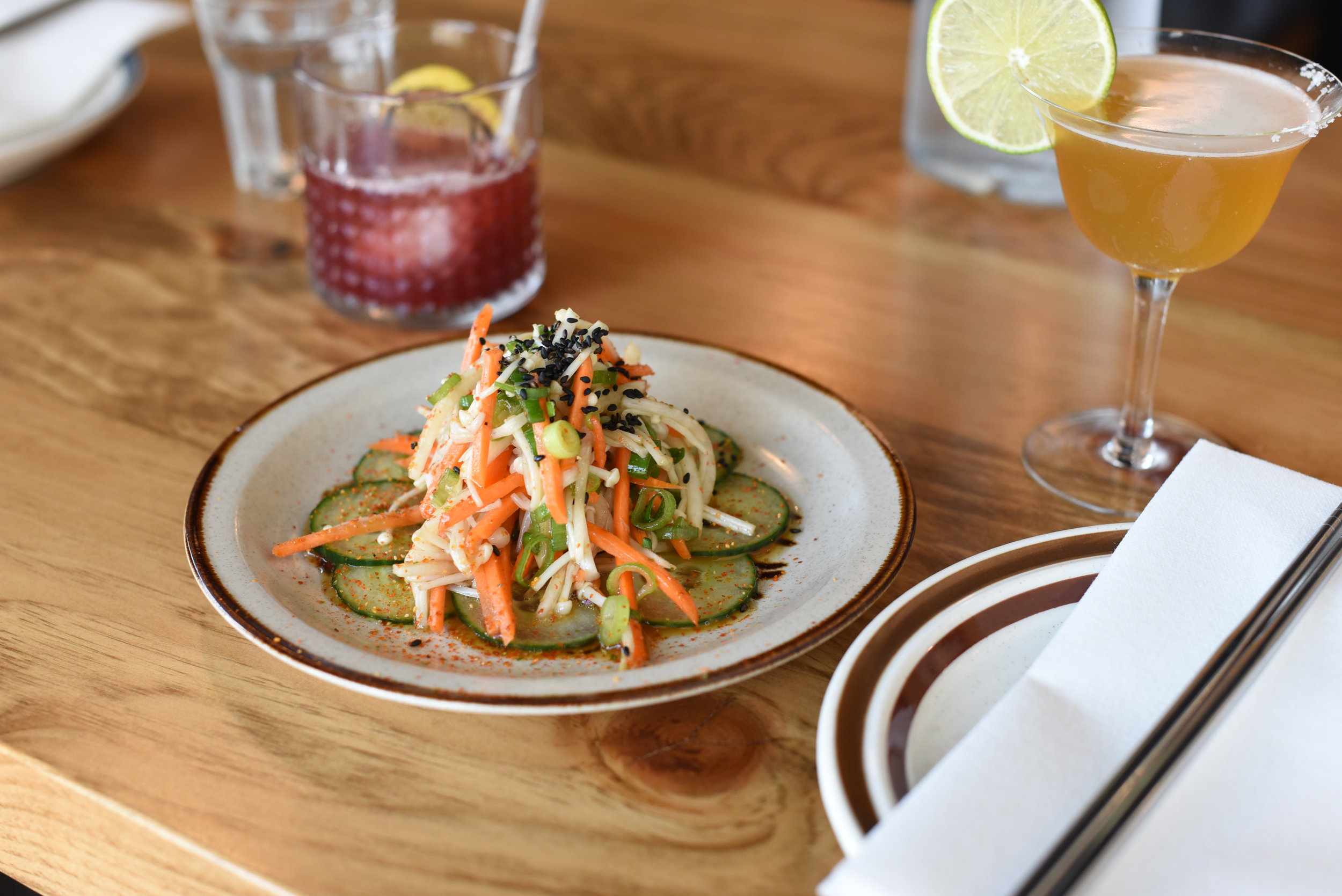 Enoki Salad - pickled enoki mushrooms, crisp veg, & sesame.