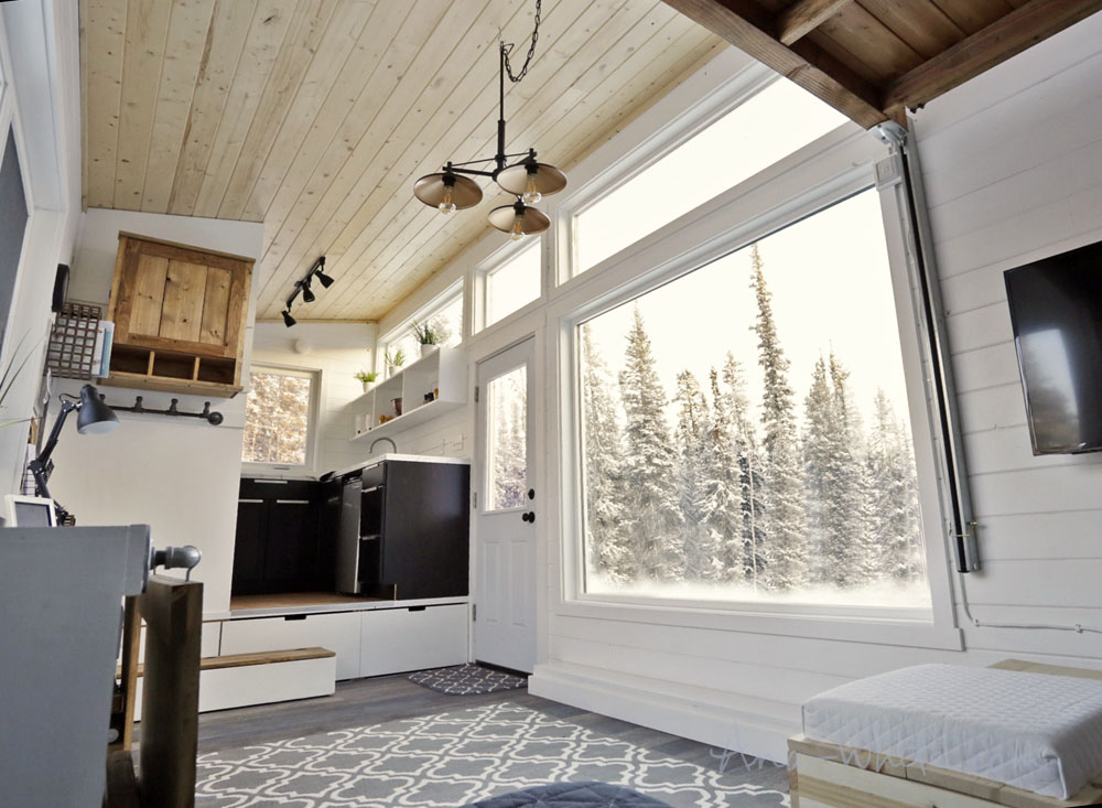 Tiny house interior built by Alaskan furniture-builder and designer  Ana White