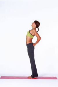 Be sure to slightly bend your knees and tuck your tailbone slightly. I usually use my inhale to squeeze elbows together behind back, slightly tuck tail bone, then the exhale to gently bend the knees, open the chest and bend back as much as feels comfortable