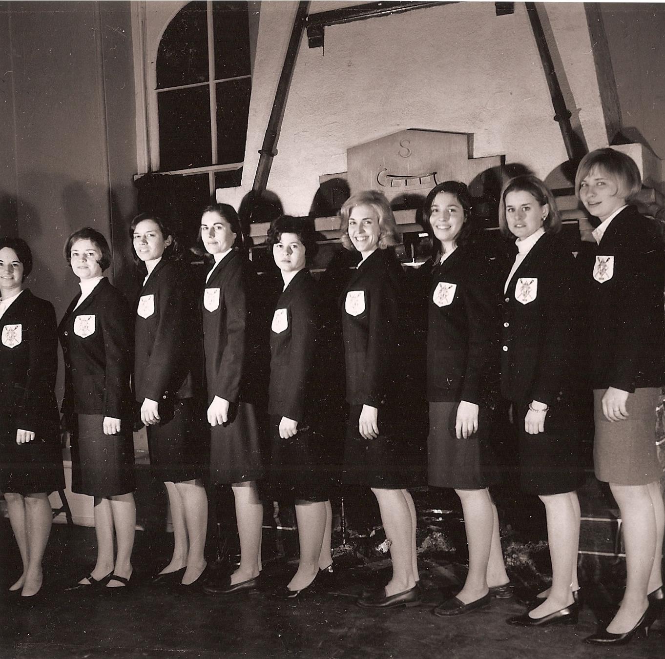 1966 National Crew  (L-R) Marjorie Pollack Ballheim, Nancy Keeler Bocchino, Barbara DePena Hoe, Faye Bardman Donovan, Evelyn Bergman, Ernestine Bayer Jr., Carol Schuler Lachal, Anita Becker Sacco, Nancy Farrell