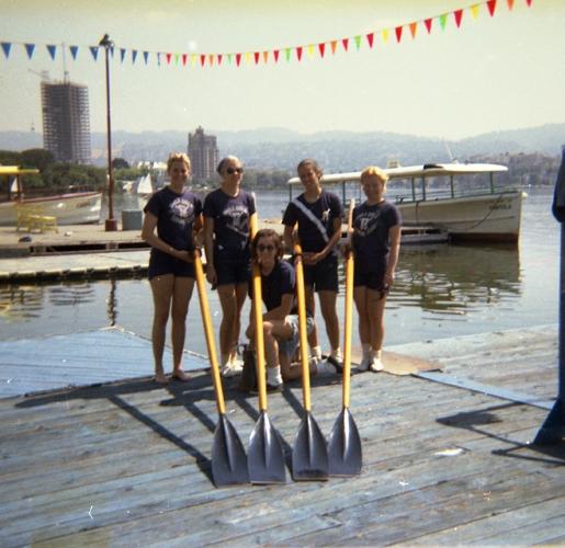 1967 Lake Merritt  (L-R) Anita Becker Sacco, Janice Saudargas, Marjorie Pollack Ballheim, Barbara DePena Hoe, Sophie Socha