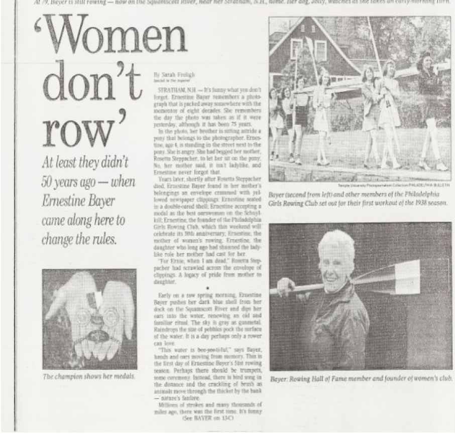 Founder Ernestine Bayer, 1988 news feature