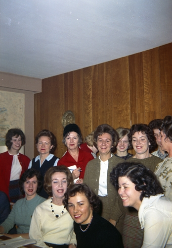 1958  (back row L-R) Irene Conlin, Mane Muller, Ruth Robinhold, Peggy Schools, Ronnie Socha, Pat Schimpf, Edna Cushmore (side)  (front row L-R) Vivian Jones Leonard, Lorraine Rucidlo, Bernadette Dubeck, Evelyn Berman