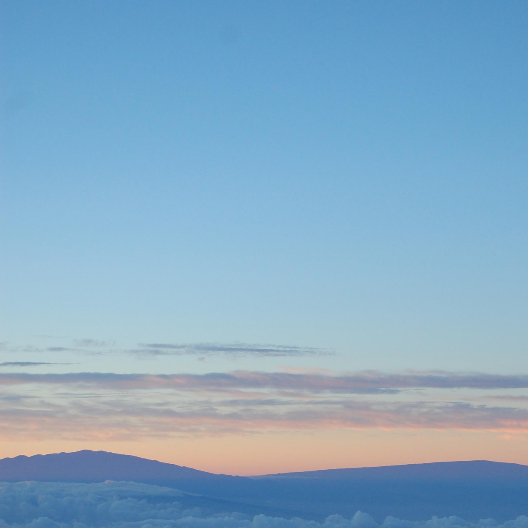A clear morning sky.