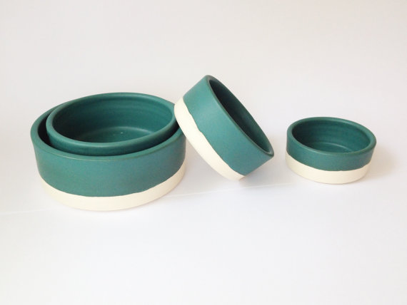 Paper and Clay Studio  Teal Ceramic Nesting Bowls