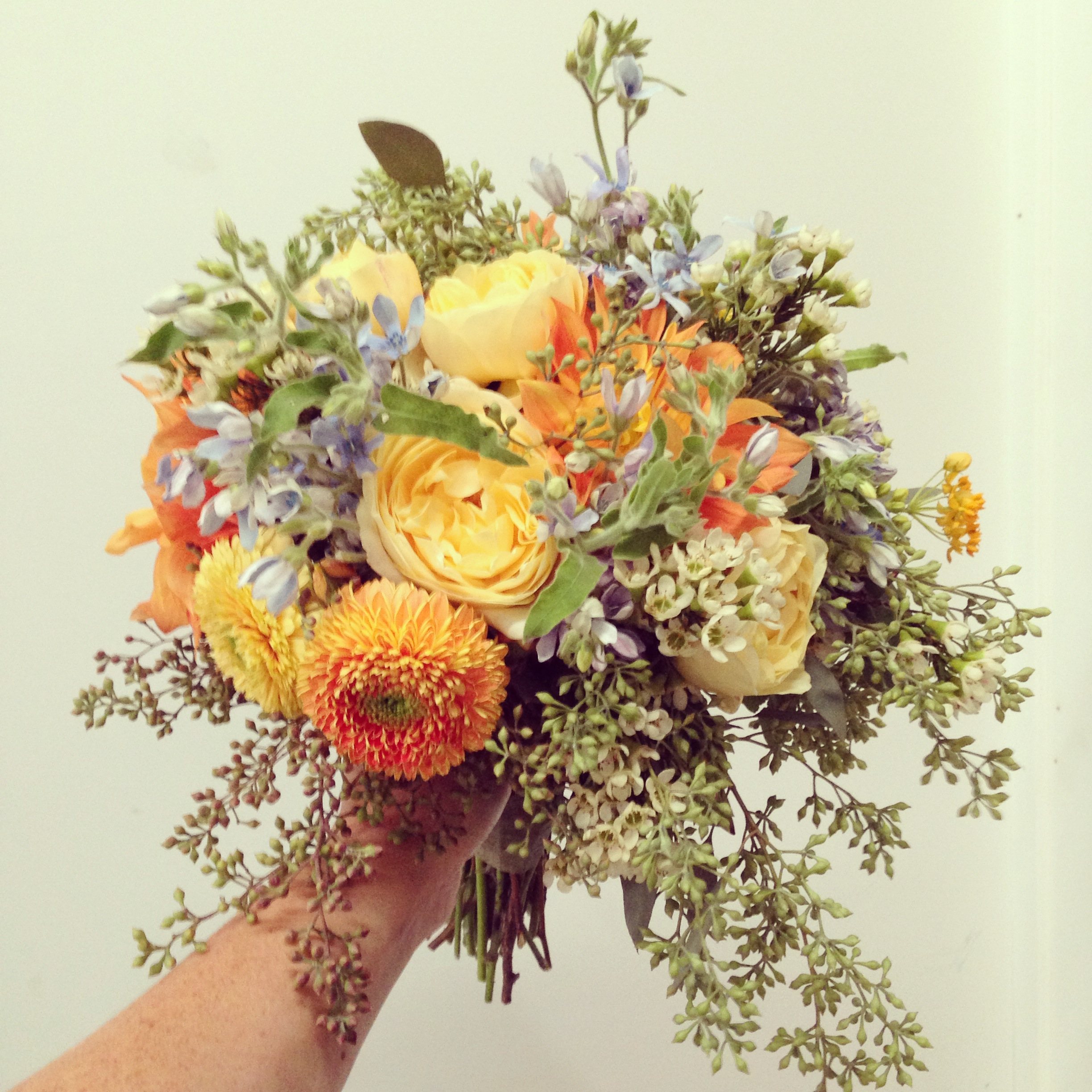 2013-11-01 Painted Eucylputs Wedding Bouquet Orange Blue Green .jpg