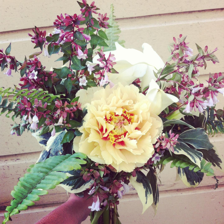 2013-05-25 Madeline Trait Weddin g Bouquet Yellow Peony Ferns Cala Lillies.jpg