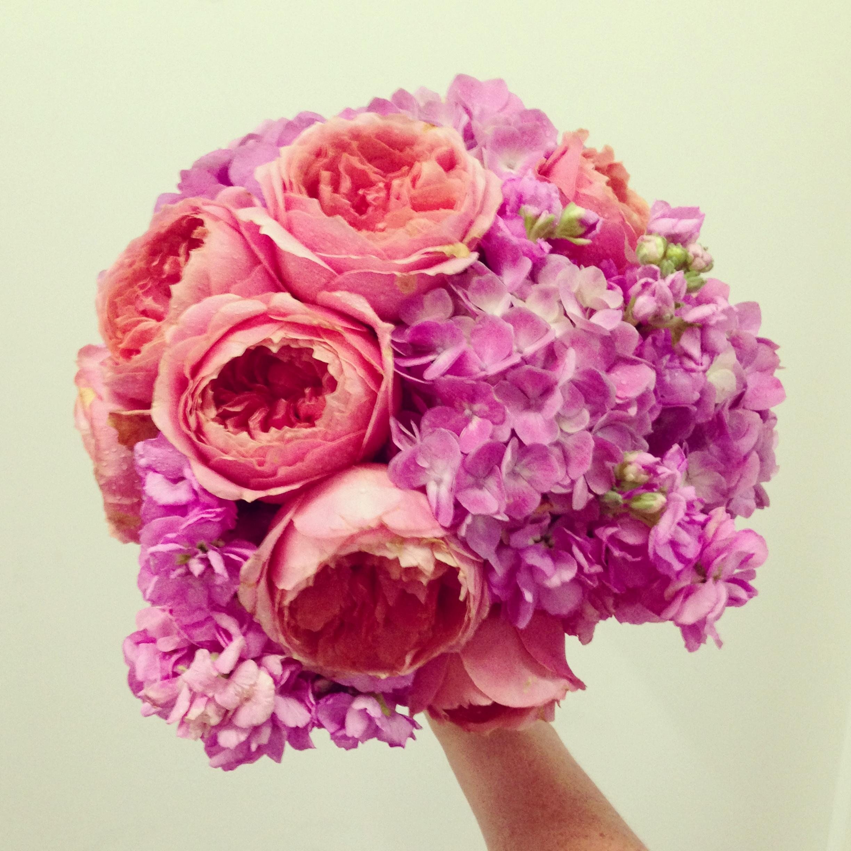 2013-08-30 Pink Rose Hydrangea Wedding Bouquet.jpg