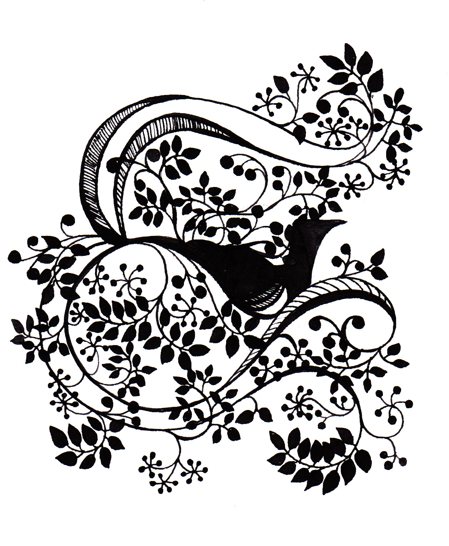 illustration-bird-black-white-flowers