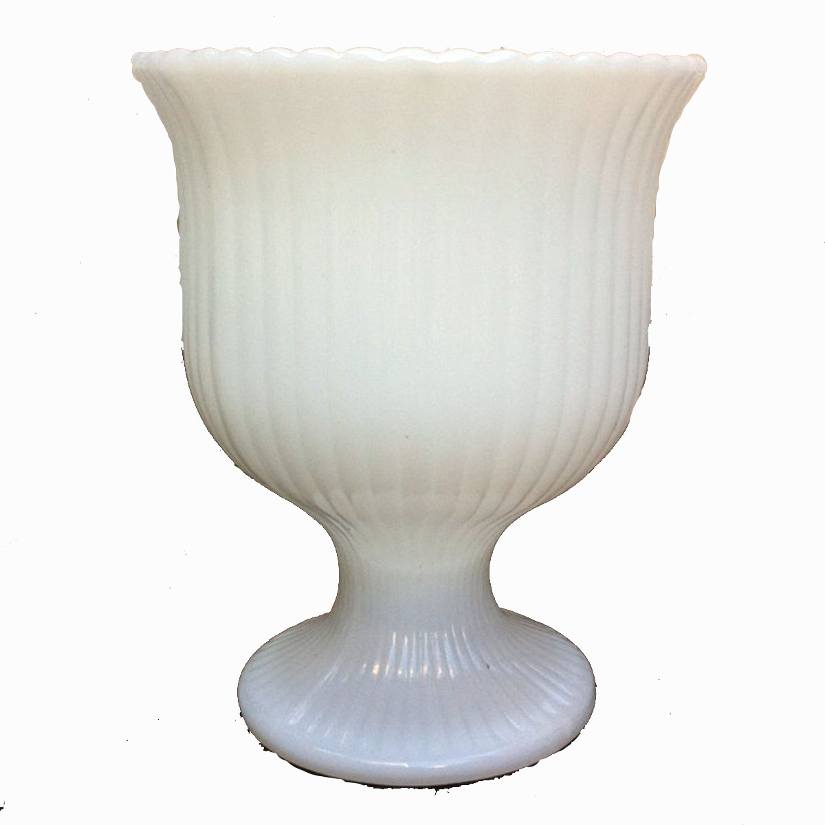 Vintage Ribbed Milk Glass Vase