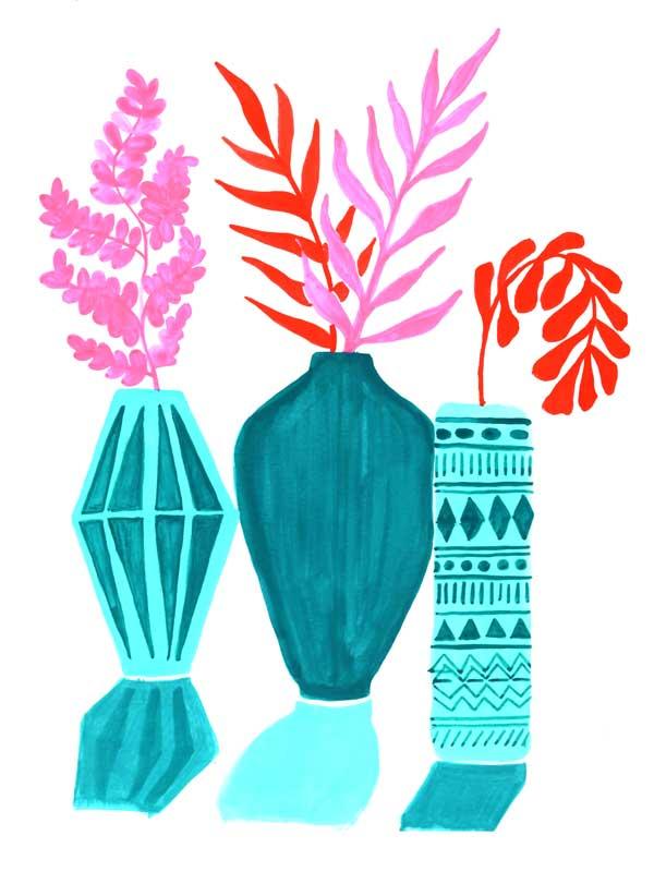"""9 x 12 - """"Vases in Light"""". Gouache Paint"""
