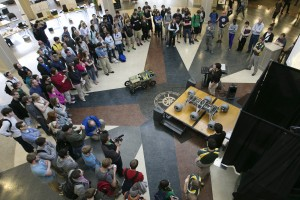 Missouri University of Science and Technology students unveil Mars rover before this weekend's race. (Source:Sam O'Keefe, Missouri S&T)