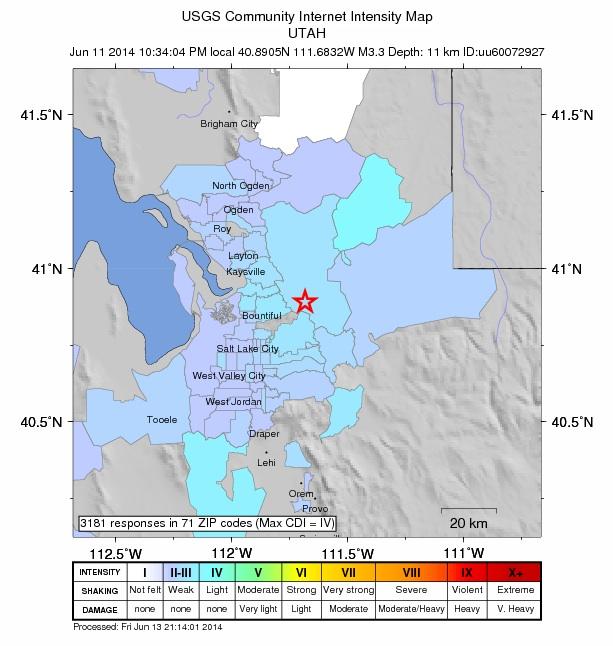 Public reports show where people around Salt Lake City felt the magnitude 3.3 quake. Credit: USGS