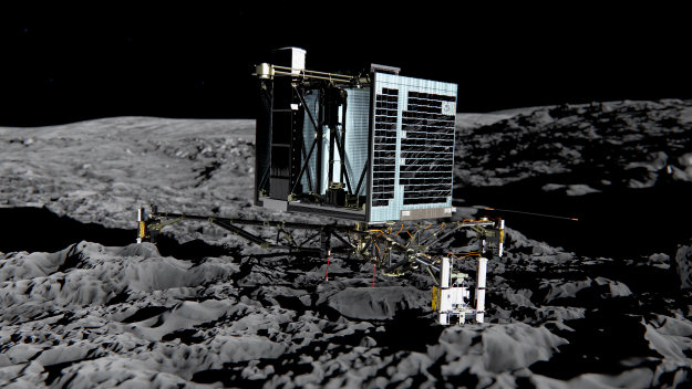 Here's one reason why the Rosetta team needs context from amateurs - the pros will be a little too close to their subject. (This is an artist's impression of Rosetta's Philae lander on the surface of comet 67P/C-G.  Credit: ESA/ATG medialab