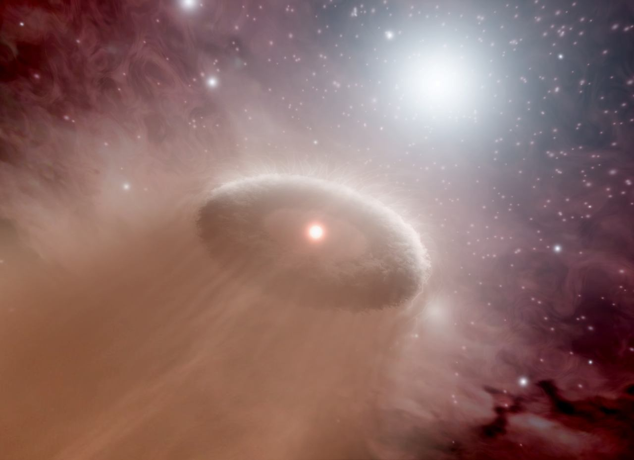 An artist's concept illustrates a protoplanetary disk being evaporated by a nearby star.  Source:  NASA/JPL-Caltech/T. Pyle (SSC)