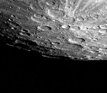 Mercury's cratered south pole region from the Mariner 10 mission in 1974.  Credit: Nasa/JPL/Northwestern University  Source:  Nasa Photojournal