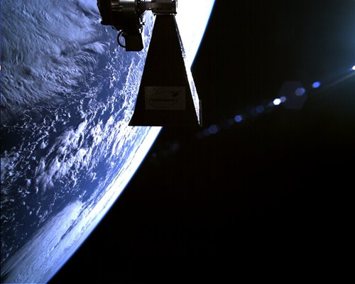 TechDemoSat's selfie... in space.  Source: Surrey Satellite Technology