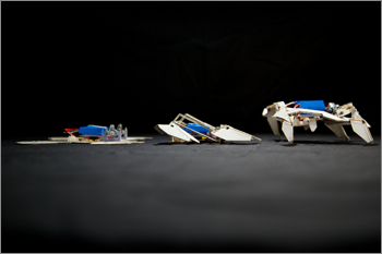 Origami and Shrinky-dinks lets this robot go from flat-pack to ready-to-walk in 4 minutes.  Source:  Harvard University