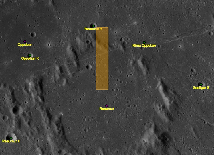 This is where I'm pointing the LRO's cameras.... OK, it's where Nasa and ASU will point the cameras. If my request doesn't conflict with a formal research project. And if the LRO passes over that spot.  Take a closer look on the Act-React QuickMap .  Credit: Nasa/GSFC/Arizona State University