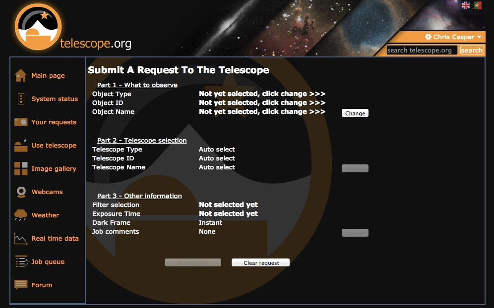 The Bradford Robotic Telescope's scheduling interface can be as simple to use as you want - either let it make all the decisions or give it detailed directions. First you select your target…