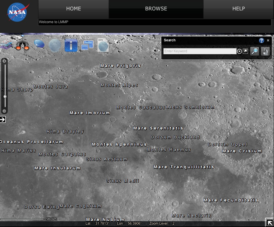 The zoomable map of the Moon also lets you look at the north and south poles - once candidates for America's return to the Moon. Credit: Nasa/GSFC