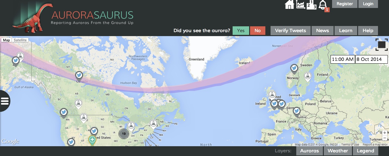 Aurorasaurus is one of the crowdsourced space projects that depend on your smartphone's GPS. Help scientists make better space weather forecasts by reporting the Northern - or Southern - Lights.  Source:  aurorasaurus.org )