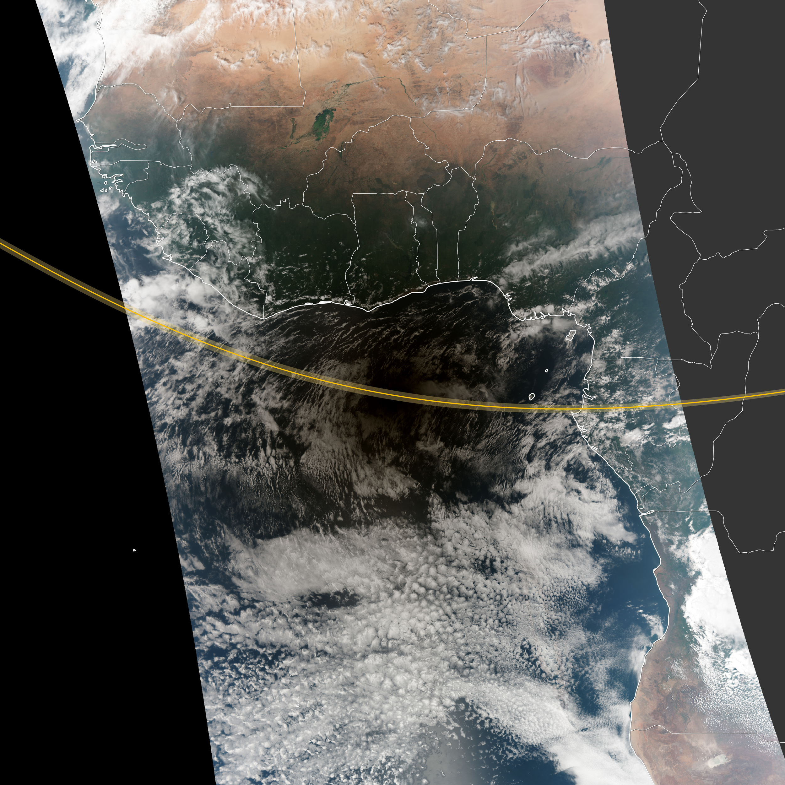 """Nasa's Earth Observation team created this illustration of a solar eclipse from above. As the Moon occults the Sun, it casts a shadow that passes over the Earth below. People standing along the shadow's path at the """"equator"""" (the yellow line) see the shadow for a longer period than people standing at the shadow's """"poles"""".  Credit: Robert Simmon and Jesse Allen, Suomi-NPP VIIR"""