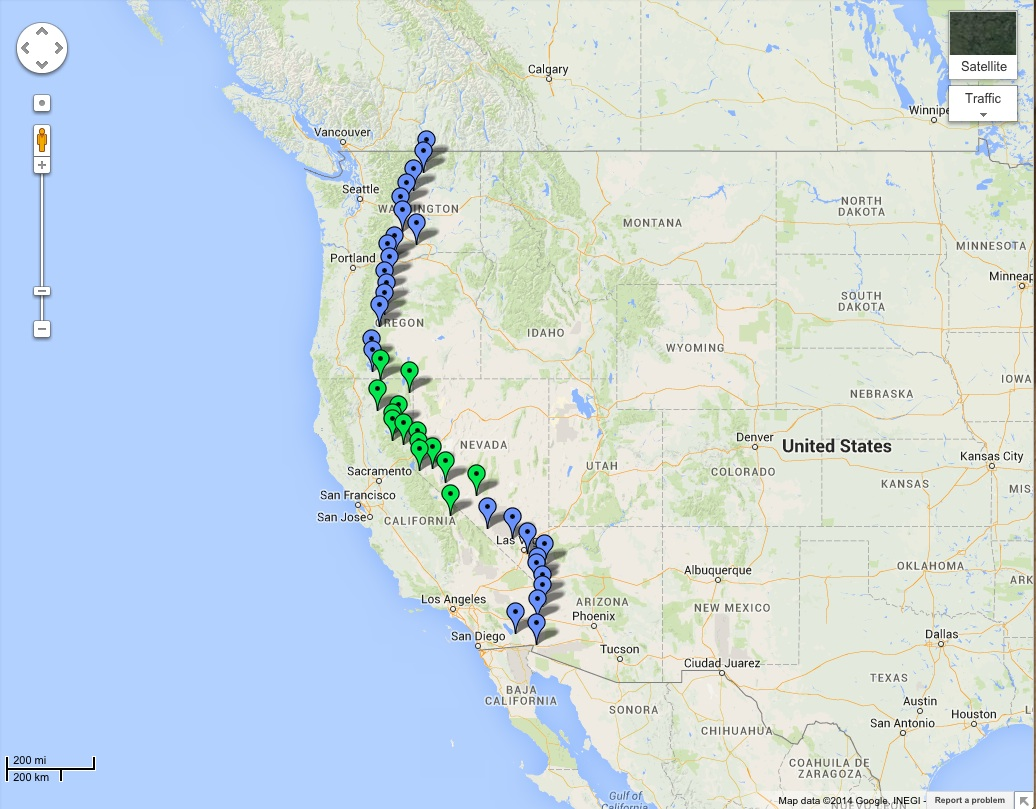 The latest National Science Foundation grant will let Recon expand from its 13-site pilot project (green) to the full 40-site network (blue).  Source:  Recon