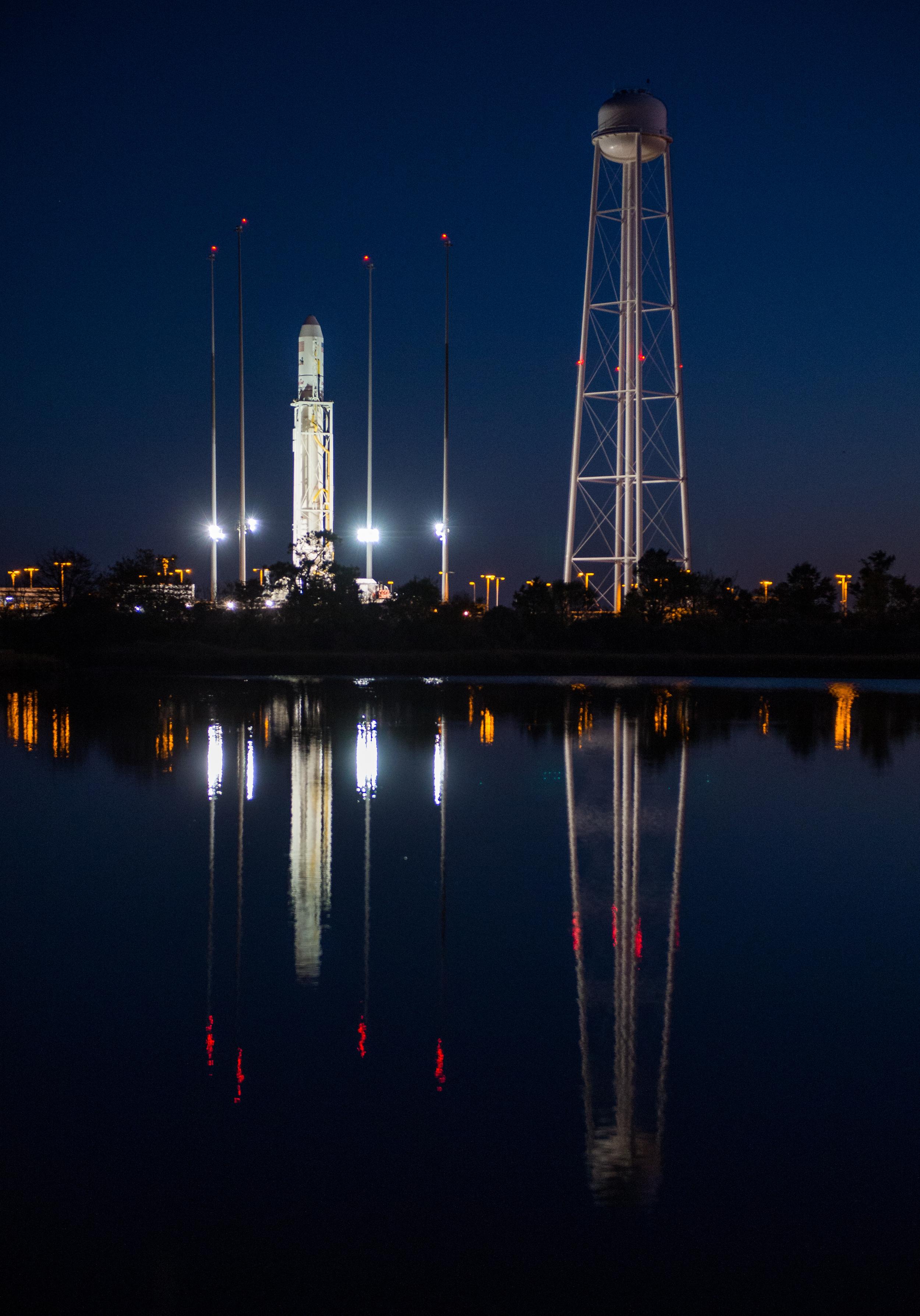 Orbital Science's Antares rocket on the launchpad in Virginia.  Credit:  Nasa