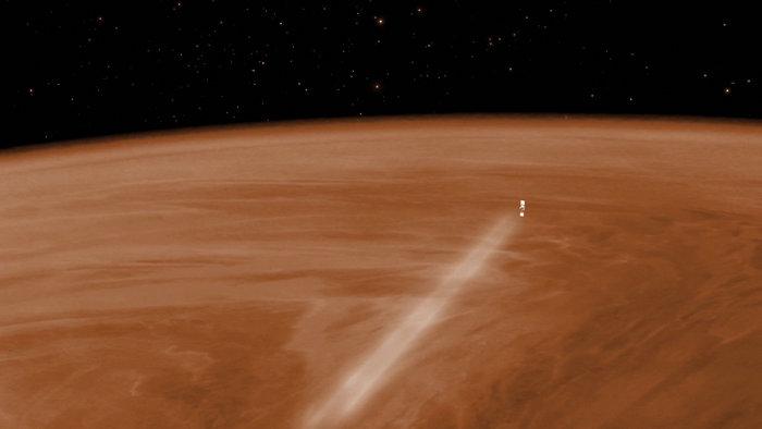 An artist's concept of Venus Express passing through the planet's atmosphere. Credit:  Esa, C.Carreau