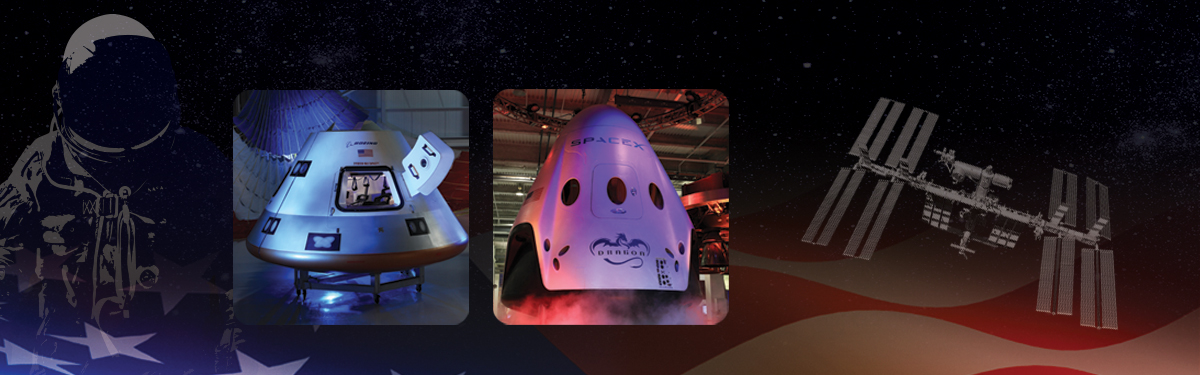 Nasaastronauts will ride into space in a new generation ofspace capsules from Boeing and SpaceX Source:  Nasa