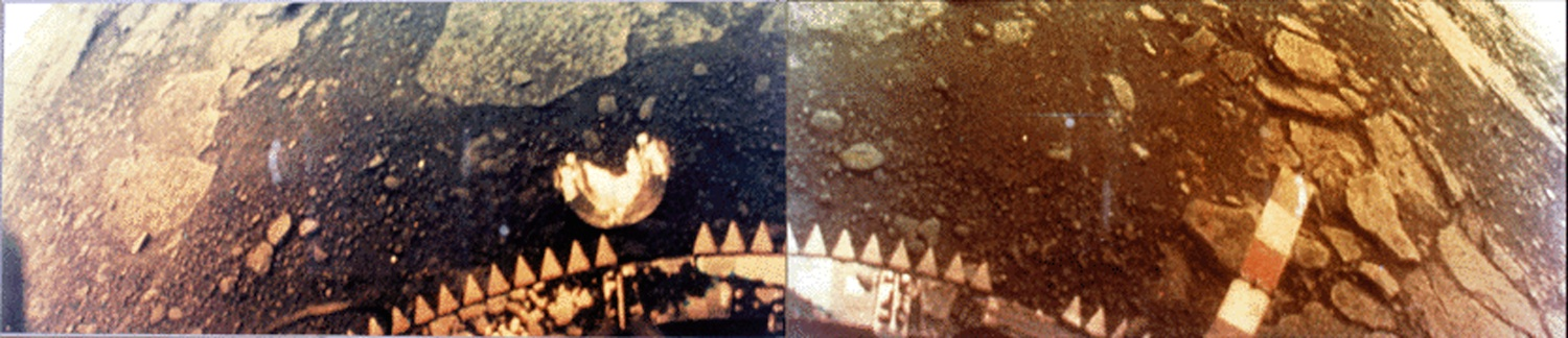 Color image sent from the surface of Venus from the Soviet Union's Venera 13 lander. The thick atmosphere gives a strong yellow cast as it hasfilteredblue wavelengths fromsunlight before it reaches the surface. Source:  Nasa/NSSDC