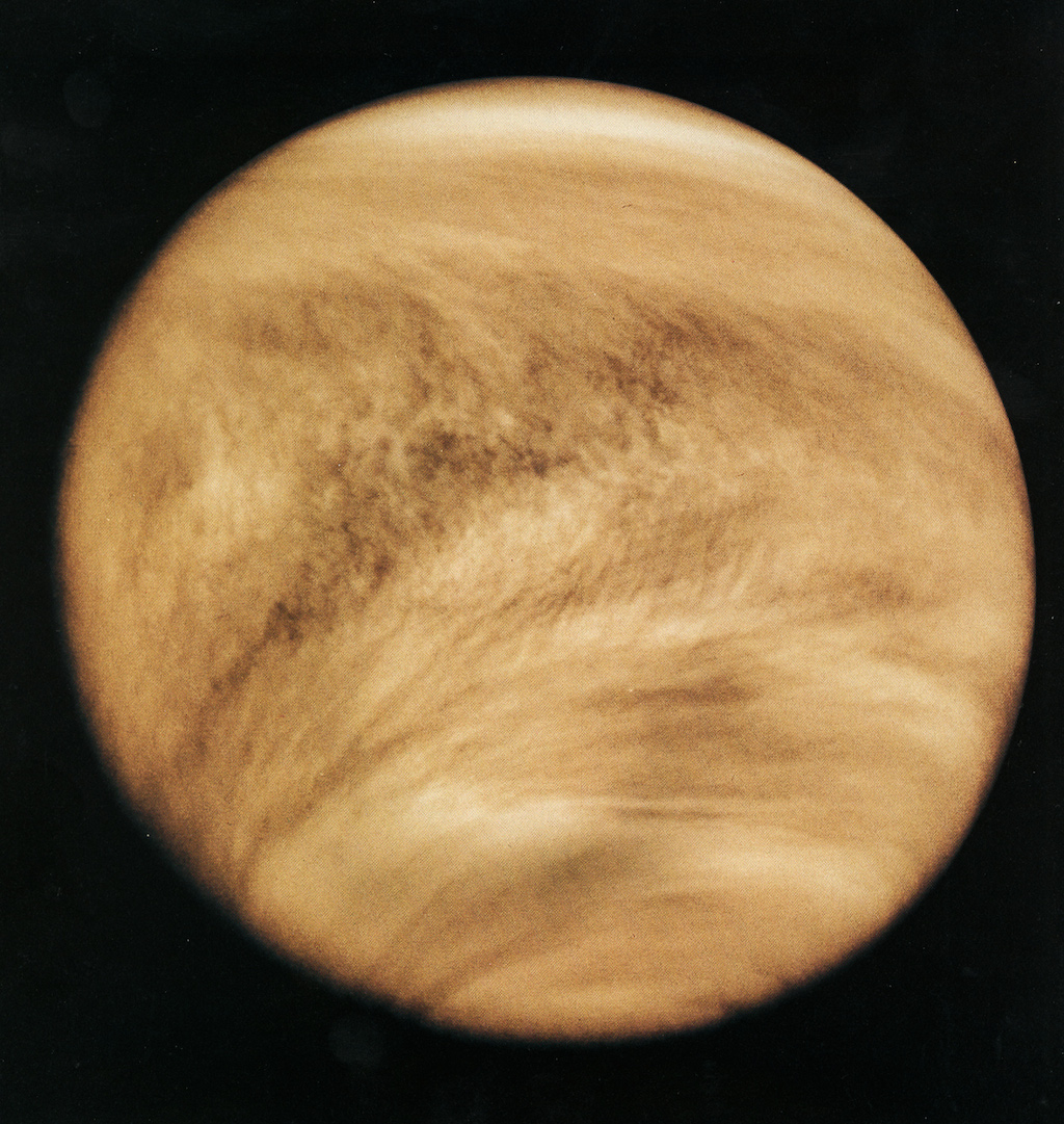 The Pioneer Venus Orbiter took this picture of Venusthrough anultraviolet filter, letting scientists see details in the planet's global cloud cover. Credit: Nasa