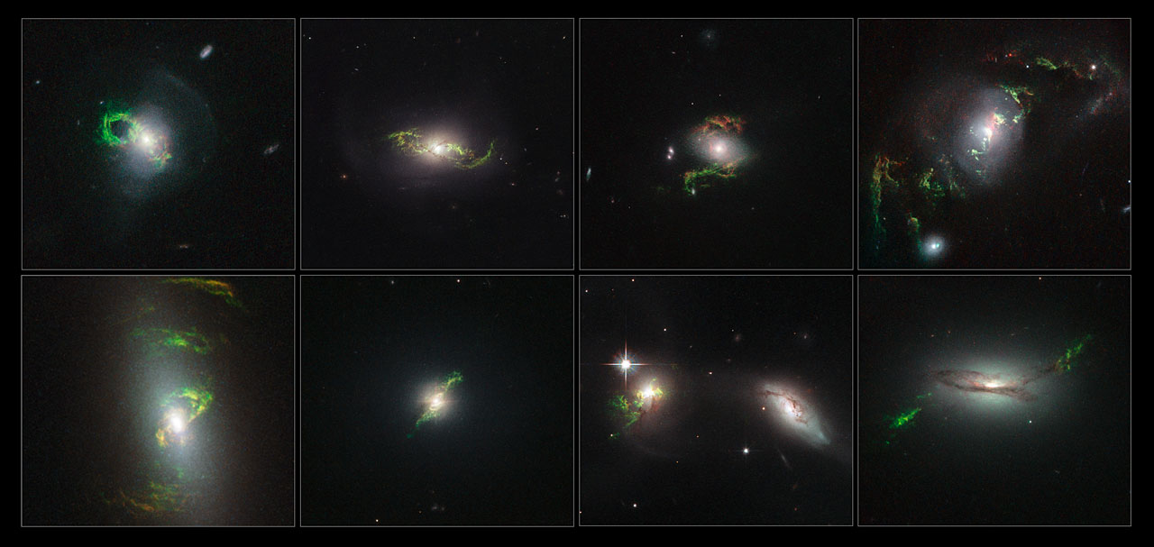 The glowing green ribbons are clouds of gas once blasted with radiation from a galaxy's black hole.  Credit:  Nasa/Esa/Galaxy Zoo team/W. Keel (University of Alabama, USA)