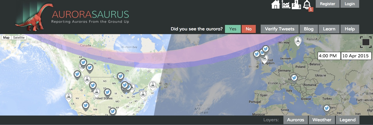 Report your aurora observations at the Aurorasaurus website, with its app, or just tweet it to your friends.  Credit:  Aurorasaurus