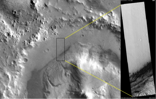 The Mars ReconnaissanceOrbiter's CTX camera can resolve objects about 20 meters across while the HiRise camera (inset) can resolve objects as small as 1 meter.  Credit:  Nasa/JPL-Caltech/University of Arizona/Planet Four