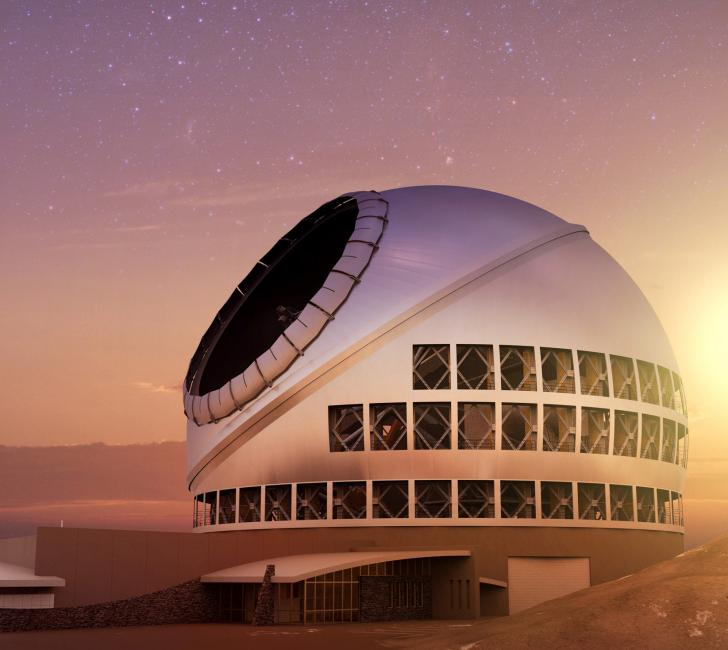 The Thirty Meter Telescope, seen here in an artist's illustration, is one of several astronomy projects that will generate a deluge of data in the coming decades.  Credit:  TMT Observatory