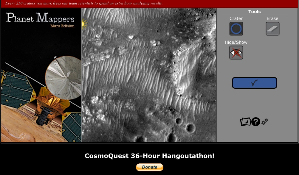 A few clicks helps produce good science. CosmoQuest's Planet Mappers: Mars Edition is the latest planetary science crowdsourcing project.  Credit:  CosmoQuest