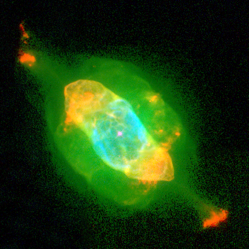 Nasa published this 1997 image of the Saturn Nebula to illustrate how the Hubble Space Telescope had overturned astronomers' assumptions about the death of Sun-like stars. The expand-to-a-red-giant-shrink-to-a-white-dwarf process is far from placid. (and tell me you can't see the eyes and mouth of a space demon trapped within)   Credit: Nasa/Esa/Bruce Balick (University of Washington), Jason Alexander (University of Washington), Arsen Hajian (U.S. Naval Observatory), Yervant Terzian (Cornell University), Mario Perinotto (University of Florence, Italy), Patrizio Patriarchi (Arcetri Observatory, Italy)