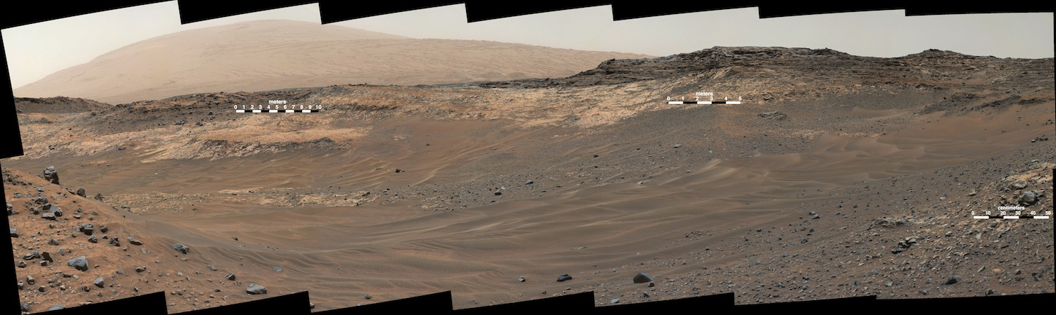 The outcrop Curiosity tried to reach is just above the center-most scale bar. The steep, sandy terrain was too unstable for the rover to continue forward.  Credit:  Nasa/JPL-Caltech