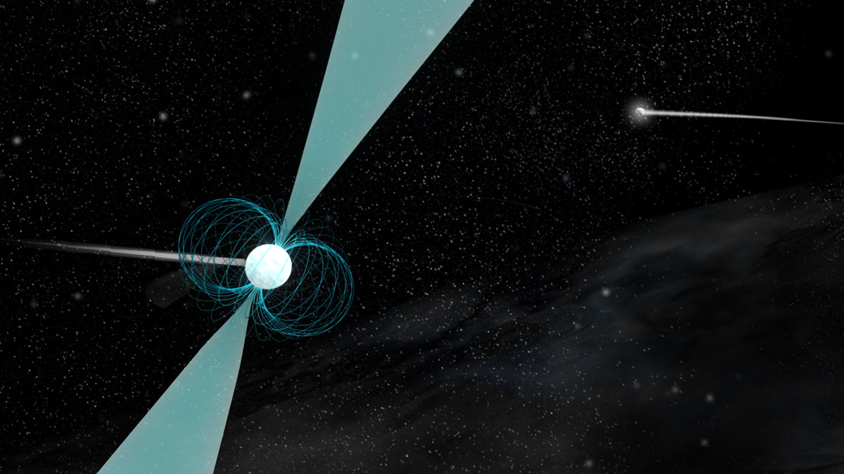 Artist's concept of astudentpulsar discovery. The pulsar co-orbitswith a companion neutron star - a doubly rare phenomenon. The extreme forces of a supernova explosion usually kicks the surviving neutron star away from any companion stars, making a pulsar binary systems uncommon. For it to happen twice is even more unusual. Cecilia McGough andDe'Shang Ray discovered their pulsar in data from the Green Bank Telescope. Follow up observations show that the two neutron stars orbit each other at a larger distance than any other double neutron binary system. Credit: B. Saxton, NRAO/AUI/NSF