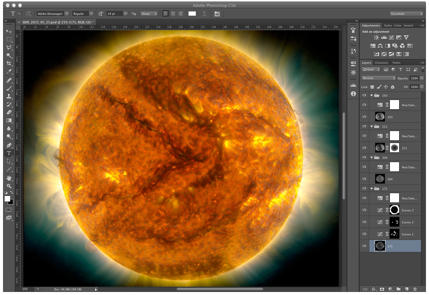 Once all of the images are stacked in Photoshop, the final image is up to you. How you colorizethe layers andadjustdetails is entirely up to you.  Credit: Chris Casper DataCourtesy of NASA/SDO and the AIA, EVE, and HMI science teams